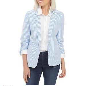 Crown & Ivy Striped Linen Ruffle Blazer NEW size 6